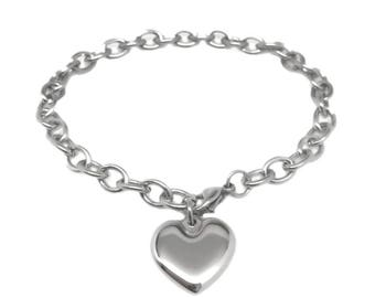Stainless Steel Charm Bracelet, Silver Heart, Jewelry for Mom, Charm Chain, Great for Sensitive Skin