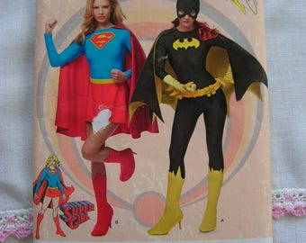 Batgirl and Super Girl Costumes Misses Sizes 14 16 18 20 22 Simplicity 1036 uncut factory folded costume sewing pattern