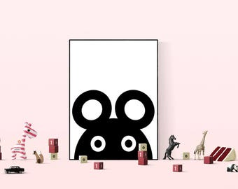 Mouse Simple Nursery Printable, Playroom Digital Print, Baby Nursery Room Wall Decor, Art for Kids