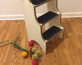 REGENCY STEP STOOL, Step Ladder, Hollywood Regency Stool, Glamour Step Stool, White and Gold Step Stool at Ageless Alchemy