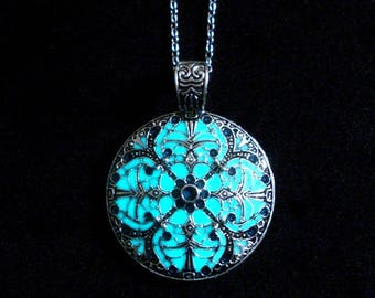 Mandala Necklace Glow In The Dark Handcrafted Necklace Pendant