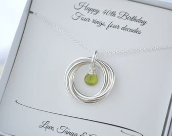 40th Birthday necklace, 4th Anniversary gift for women, 40th Birthday gift for women, Peridot necklace, 4 Sisters gift, August birthstone