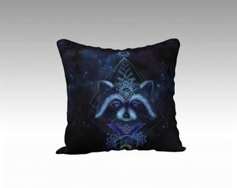 Raccoon Throw Pillow - animal throw pillow, velvet pillow, spirit animal, space pillow, flower of life, geometry, galaxy, unusual decor