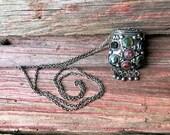 Silver Snuff Box / Trinket Box Necklace with Semi-precious Stones