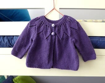 MADE to ORDER, knit purple or red baby cardigan, baby girl sweater, hand knitted girls sweater, baby gift 3 months, handmade baby clothes