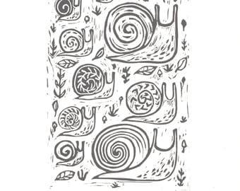 Snail Parade- Hand printed linoleum block print 9x12