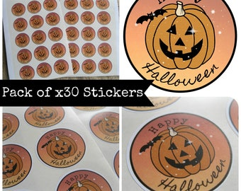 Pack of 30 'Happy Halloween' Samhain Pumpkin Party Stickers