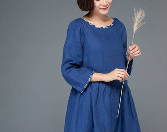 tunic dress, tunic, tunic dress linen, blue tunic, blue tunic dresses, tunic tops, tunic shirt, womens tunic, loose tunic, linen tunic C1151