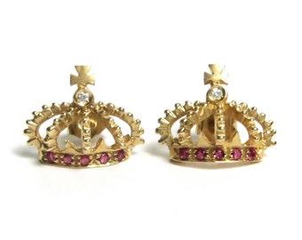 Vintage Earrings - 14k Yellow Gold Diamond Crown Earrings - Natural Red Rubies - Ruby Earrings - July Birthstone # 1533