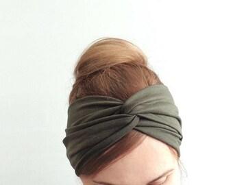 Ladies Turban, Khaki twist headband, Twist center headband, Light Ear Warmers, Women Turban,  Adult Headband, Infinity Turban, Twist Turban