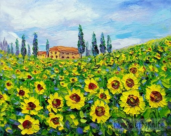 Sunflower Field Landscape Impasto Original Oil Painting Textured Palette Knife Small Wall Art on 8x10 Canvas Ready to Hang