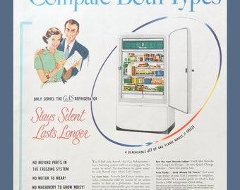 Vintage Kitchen Decor - Refrigerator Ad from Servel - Unframed Vintage Advertising for Wall Art