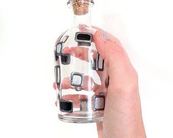 "Hand Painted Mini Glass Bottle - Modern - Translucent Black, Silver and Frosted Rectangles Painted on a 5.25"" Glass Bottle"