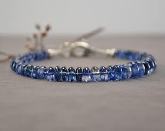 Kyanite Bracelet, Blue Kyanite, Kyanite Jewelry, Natural Blue Kyanite, Blue Bracelet, Silver Bracelet, Blue Gemstone Bracelet, Sterling