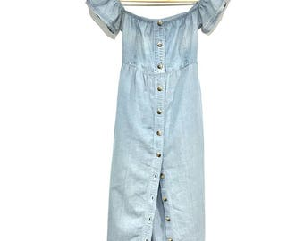 Off the Shoulders Blue Denim Dress, Upcycled, Size: Small/Medium.