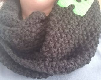 Black scarf,  yarn scarf, black, scarves made to be personalized with one initial up to three. I do many different fonts & font colors.