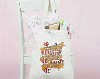Personalised Christmas Eve Bag: Childrens eco tote shopping bag with personalized Christmas gingerbread. Useful & fun gift for kids Eve Box