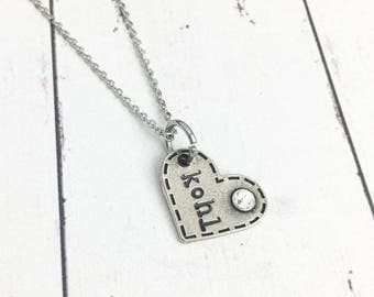 Pewter Name Heart Necklace with Birthstone - Pewter Heart Necklace - Kids Name Necklace - Heart Name Necklace -Mothers Necklace-Hand Stamped