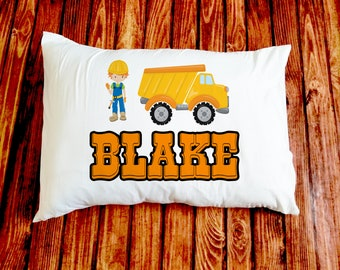 Construction/Boy/Dump Truck/Pillow/standard Pillowcase/custom printed/personalized/kid/baby/baby shower gift/unique baby gift/new baby gift