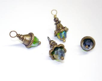 6PC. AB Metallic Green Tear Drop Austrian Crystal Bead Charm//Handmade AB Crystal  Charms//Antique Bronze Tone Plated Crystal Charm