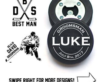 Groomsman Ask | Groomsmen Proposal | Bottle Opener made from REAL Hockey Puck | Best Man Proposal | Ask Best Man