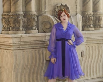 vintage 1960s purple ruffle baby doll dress with velvet bow