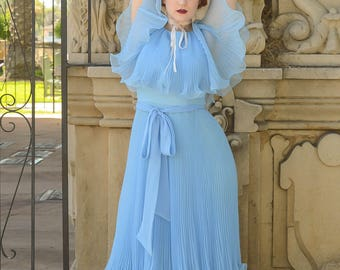 vintage 1970s powder blue pleated angel dress