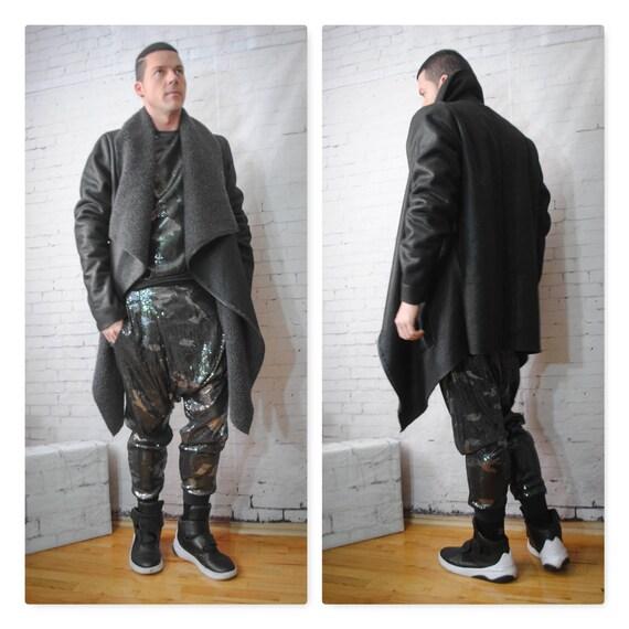 Black Faux Shearling Sherpa Drape Front Coat Jacket Asymmetrical Zip Front