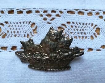 Vintage brooch pin, cat and kittens in a basket, vintage brooch