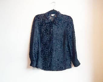 Black Velvet Blouse Sheer Floral Vintage Blouse Collared Button Up See Through Velvet Shirt Flowers Long Sleeve Retro