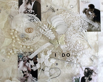 Romantic Wedding* White Inspiration Kit*Vintage Wedding Supplies*Wedding Scrapbook Journal Cards