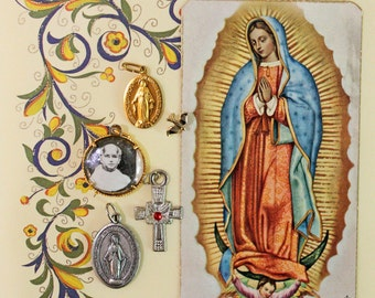 5 Vintage Religious Charms*Religious Medals*Patron Saint, Pope, Mary, Jesus Medals, Prayer Card