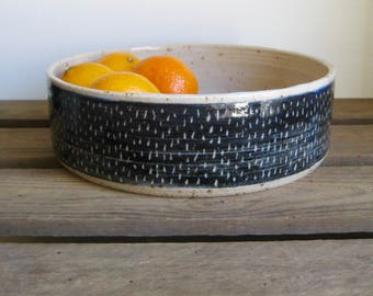 Modern Fruit Bowl, Speckle Stoneware Clay with Blue Sgraffito Line Design, Hand Thrown Pottery