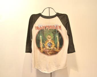 Iron Maiden Seventh Son of a Seventh Son Tour 1988 Thrashed Baseball T-shirt. 80s Metal. Seventh Son of a Seventh Son.