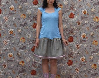 short skirt damask gray/green almond & powder pink