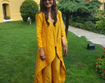 Yellow Jacket dress, pakistani fashion, women clothing, silk, indian clothes