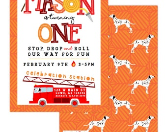 Firetruck/ Fireman/ Dalmatian Birthday Invitation