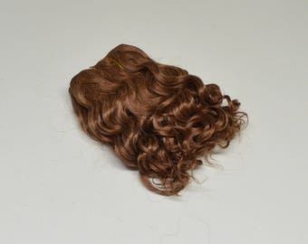 Super soft curled weft mohair, weft for mohair wig dolls, middle brown