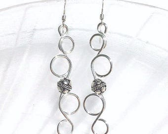 Sterling Silver Dangle Earrings, Wire Jewelry, Swirl Earrings, Silver Wire Earrings, Long Silver Earrings, Wirework Jewelry, Beaded Jewelry