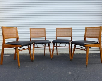 4 Mid Century Modern Solid Walnut Dining Chairs With Cane Backs Eames Era  Danish Style Side