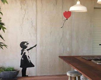 Banksy Balloon Girl stencil, HUGE Life size wall art stencil, Banksy replica painting stencil
