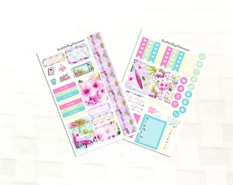 Beach Day Planner Sticker Kit for Personal Sized Planners, Hawaii Vacation, Mini Planner Sticker Kit