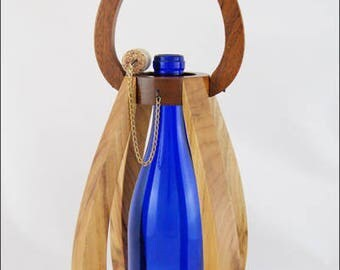 Unique Wood Gift, Wine, Centerpiece, Wine Gift, Camphor, African Mahogany, Outdoor Light, Handcrafted 5 Year Anniversary Gift, Art Lighting