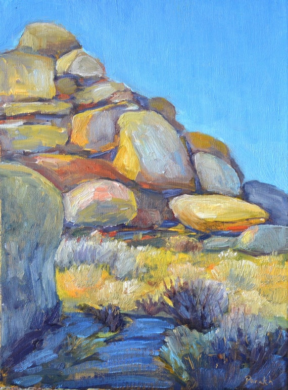 "Desert boulders, oil painting,  western landscape, Joshua tree national park,12"" X 9"" canvas, american realist, original landscape, rocks"