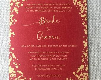 Red and Gold Wedding Invitation | Shaadi | Pakistani | Indian