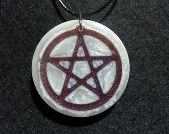 Pentacle Pendant made with pearl resin, Free Shipping Worldwide,spiritual jewelry,Pagan,Wiccan Jewelry,Wiccan Pendant