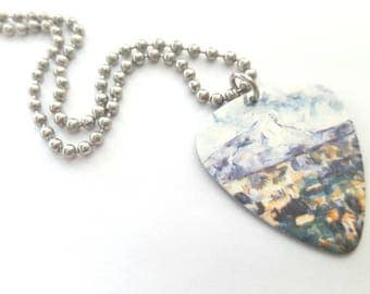 Paul Cezanne Guitar Pick Necklace with Stainless Steel Ball Chain - fine art accessory - mountain