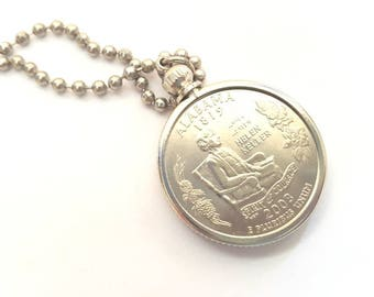 Alabama State Quarter Coin Necklace with Stainless Steel Ball Chain or Key-chain - 2003