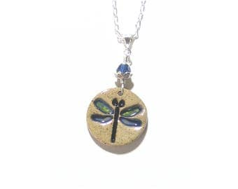 Dragonfly Stoneware Pendant Sterling Silver Chain Necklace, Handmade Bug Jewelry, Artisan Jewelry, Ceramic Rustic Pendant Necklace, Nature