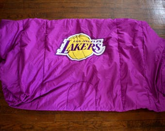 Vintage LA Lakers Comforter Blanket. Purple And Gold Los Angeles Lakers 90s NBA Basketball Collectible Blanket. Warm 90s Lakers Bedding